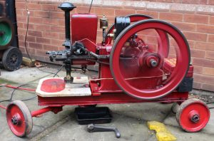 Portable barn engine in motion
